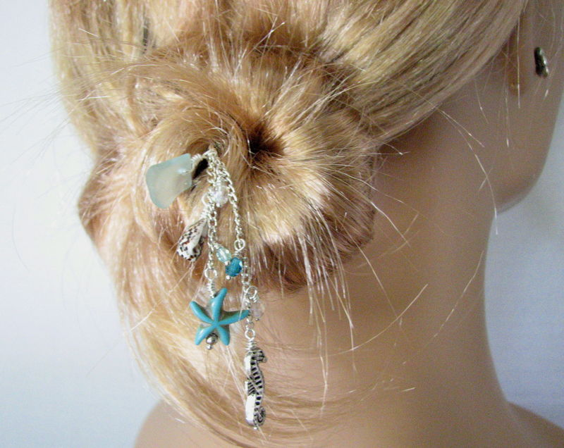 Sea Glass Beach Hair Stick with Turquoise Starfish - product images  of