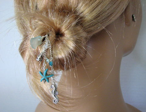 Sea,Glass,Beach,Hair,Stick,with,Turquoise,Starfish,beach hair accessories, sea glass hair pick, beach hair pick, turquoise starfish, silver sea horse, natural shell, beach hair jewelry, seaglass, hairpick, hairstick, beach wedding jewelry, beach bride accessory, wood hair stick, how to wear, turquoise blu