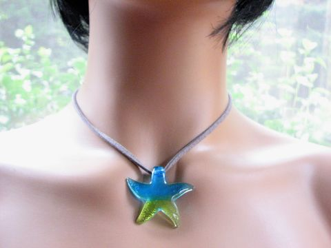Dichroic,Glass,Starfish,Leather,Choker,Necklace,dichroic glass starfish, glass sea star, pendant choker, grey leather choker, choker necklace, large starfish, aqua blue, blue, lime, yellow, green, beach choker, adjustable, coastal necklace, colorful star fish