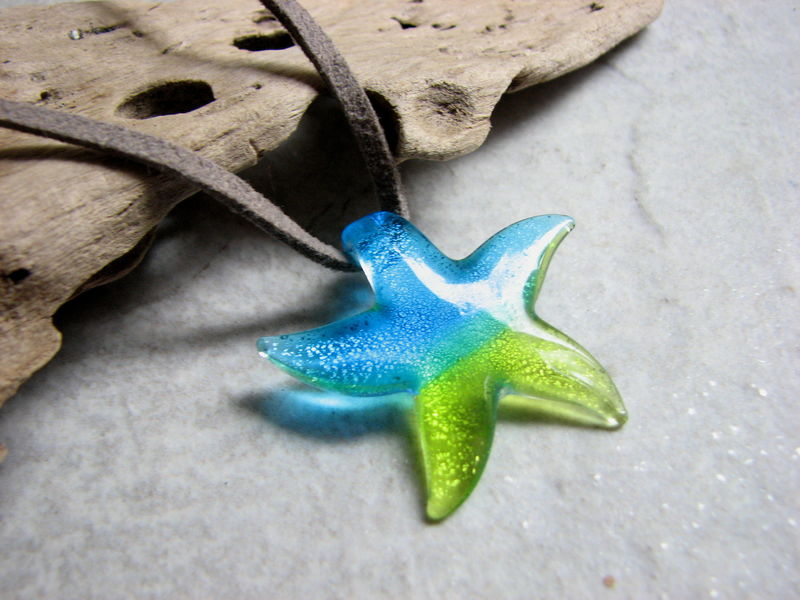 Dichroic Glass Starfish Leather Choker Necklace - product images  of