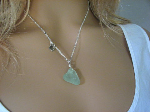 Sea,Glass,Heart,Pendant,Necklace,on,Sterling,Silver,Chain,sea glass heart necklace, sea glass heart pendant, seaglass heart, beach glass heart, jewelry, sea foam, seafoam, light blue, sterling silver, 18 inch, bits off the beach, ocean, love, romance, gift for her, Beach Christmas gift,