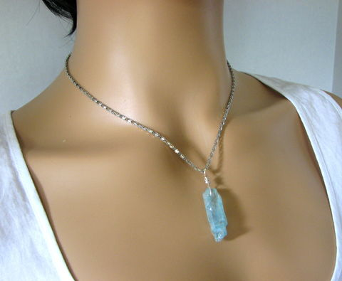 Ice,Blue,Crystal,Necklace,with,18,Inch,Chain,ice blue crystal, crystal necklace, crystal pendant, blue crystal pendant, crystal with chain, 18 inch chain, Ice Blue Crystal Necklace with 18 Inch Chain, raw cut crystal, rough cut crystal, blue chakra necklace
