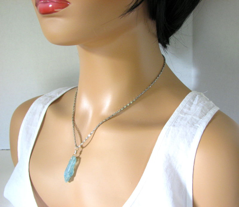 Ice Blue Crystal Necklace with 18 Inch Chain - product images  of