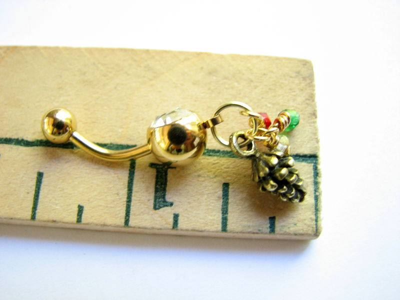Christmas Pine Cone Belly Rings with Gold Titanium Belly Bar - product images  of