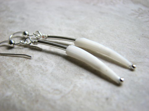 Silver,Tube,and,Dentalium,Shell,Earrings,/,Minimal,Modern,simple earrings, modern earrings, silver stick earrings, smooth bar, long dangle, organic, natural earrings,  minimal earrings, sleek earrings, dentalium shell, tusk shell, white, curved tube earrings, long narrow,