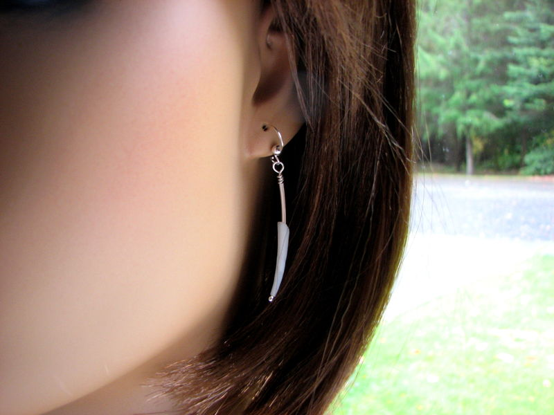 Silver Tube and Dentalium Shell Earrings / Minimal Modern Earrings - product images  of