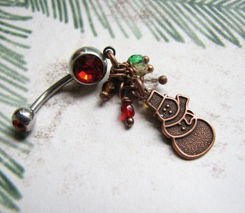 Christmas Snowman Belly Button Ring - product images  of
