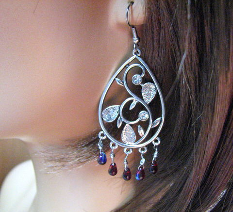 Teardrop,Chandelier,Earrings,in,Burgundy,and,Silver,teardrop earrings, large earrings, chandelier earrings, flowered design, Christmas, holiday jewelry, party jewelry, burgundy, wine, dark red, fire polished beads, handmade, festival, renaissance jewelry, gypsy, red and silver jewelry,