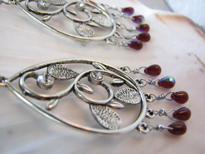Teardrop Chandelier Earrings in Burgundy and Silver - product images  of