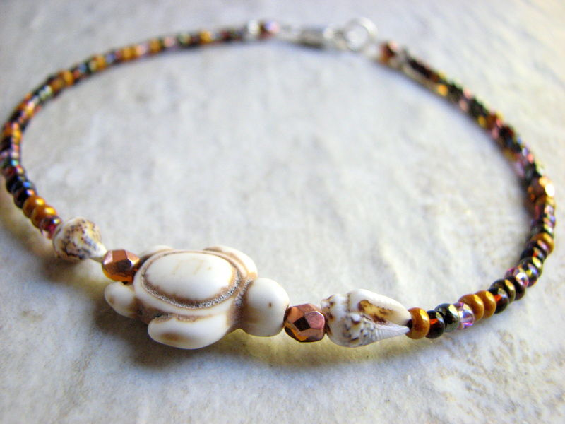 White Sea Turtle and Shell Anklet with Golden Brown Seed Beads - product images  of