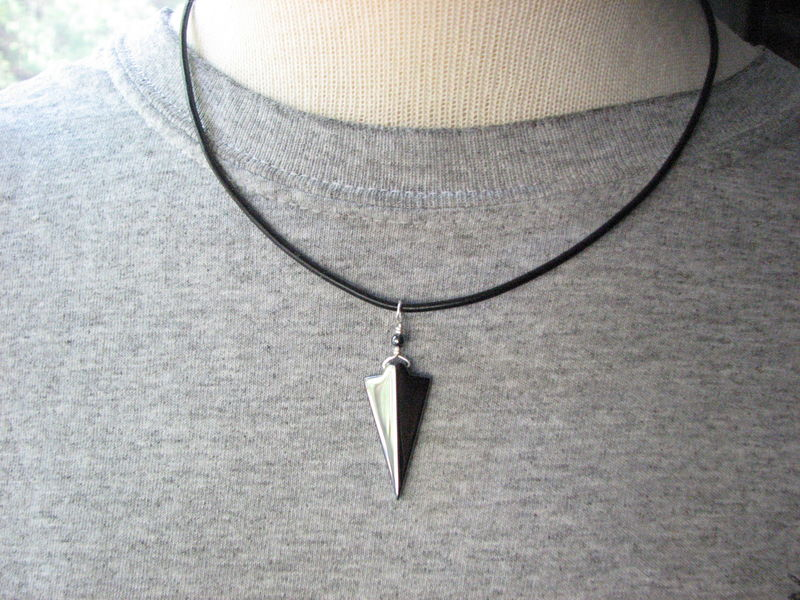 Hematite Stone Arrowhead Necklace for Men or Women - product images  of