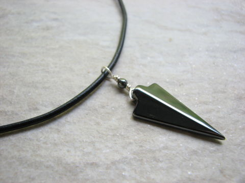 Hematite,Stone,Arrowhead,Necklace,for,Men,or,Women,Arrow Head, Hematite stone necklace, Hematite arrowhead necklace, grey arrowhead necklace, mens necklace, mens arrowhead necklace, women arrowhead necklace, leather necklace, leather cord, handmade, hand crafted necklace, minimalist necklace, hematite jew