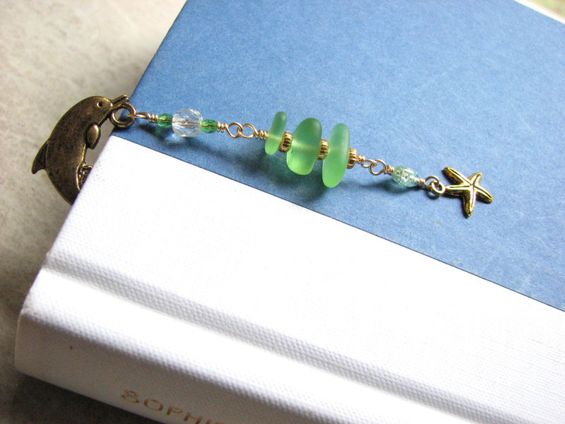 Sea Glass Bookmark with Dolphin and Starfish Charm - product images  of