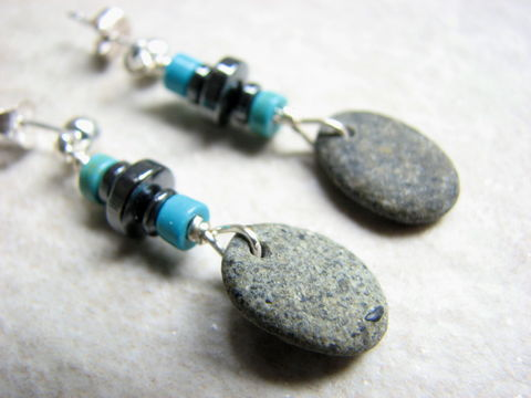Grey,Beach,Stone,Earrings,with,Hematite,and,Turquoise,beach stone earrings, ocean rocks, sea pebble, grey rock earrings, rustic earrings, beach earrings, beaded earthy jewelry,  hematite jewelry, turquoise howlite, beach stone jewelry, boho jewelry, grey and turquoise, small dangles, beachcomb jewelry,