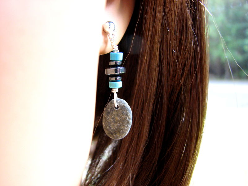 Grey Beach Stone Earrings with Hematite and Turquoise - product images  of