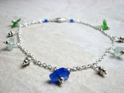 Dainty,Sea,Glass,Anklet,,Blue,and,Green,Genuine,Beach,sea glass anklet, seaglass anklet, beach glass anklet, dainty anklet, wire wrapped sea glass, green and blue glass, silver rolo chain ankle bracelet, ocean ankle jewelry, coastal, beach, nautical, womens,