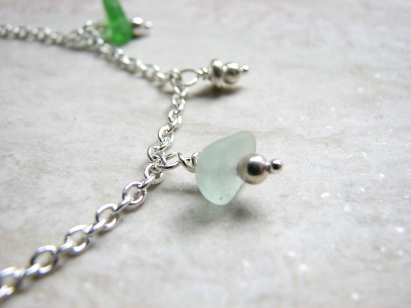 Dainty Sea Glass Anklet, Blue and Green Genuine Beach Glass - product images  of