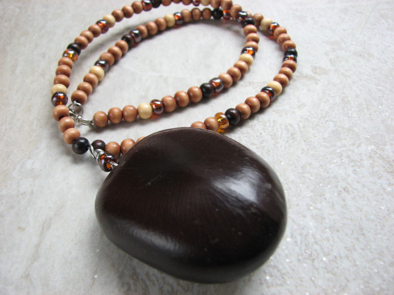Sea Heart Necklace, Wood Bead and Large Natural Sea Bean Jewelry - product images  of