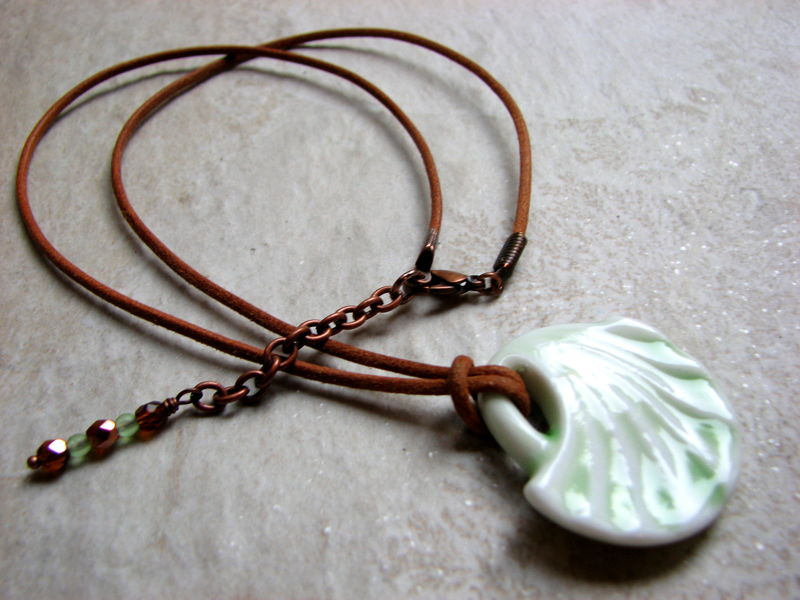 Porcelain Shell Shape Pendant, Mint Green on Leather Necklace - product images  of