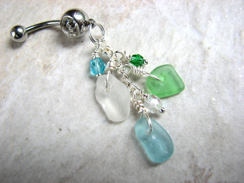 Tri-Color,Sea,Glass,Belly,Button,Rings,sea glass belly ring, sea glass bellybutton, sea glass navel, chain, sea glass piercing, stainless steel, 14GA, body jewelry, seaglass, beach glass, aqua blue, green, white, long belly rings, dangle belly rings, ocean, coastal, mermaid tears, genuine sea