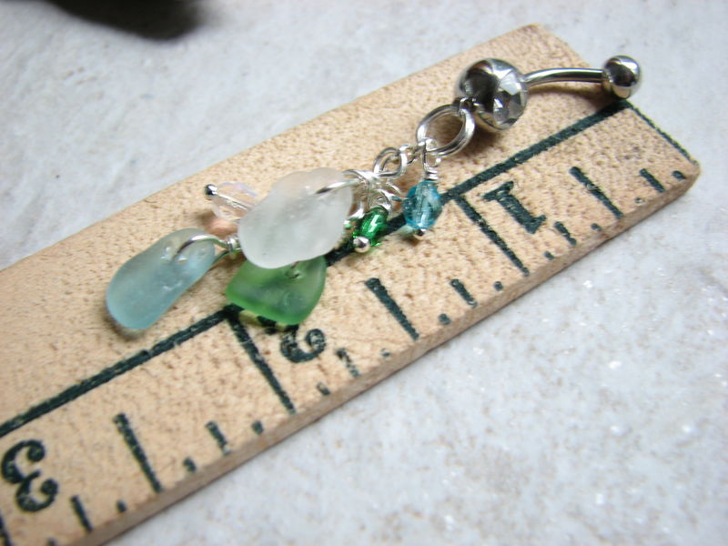 Tri-Color Sea Glass Belly Button Rings - product images  of