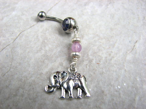 Elephant,Belly,Button,Ring,with,Amethyst,elephant belly, circus elephant, silver elephant, african piercings, gemstone. amethyst bead belly, dangle navel ring, bellybutton ring, navel piercing, beaded, elephant body jewelry, belly button jewelry, stainless steel belly bar
