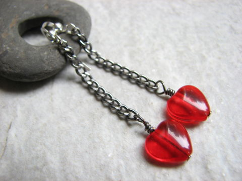 Gun,Metal,Valentine's,Red,Heart,Chain,Earrings,gun metal chain, gun metal earrings, red heart earrings, chain earrings, Valentine's earrings romantic earrings, boho valentines, steampunk valentine, heart on a chain, swingy earrings, red heart jewelry, Valentines's Day Jewelry, Valentines gift, minimal