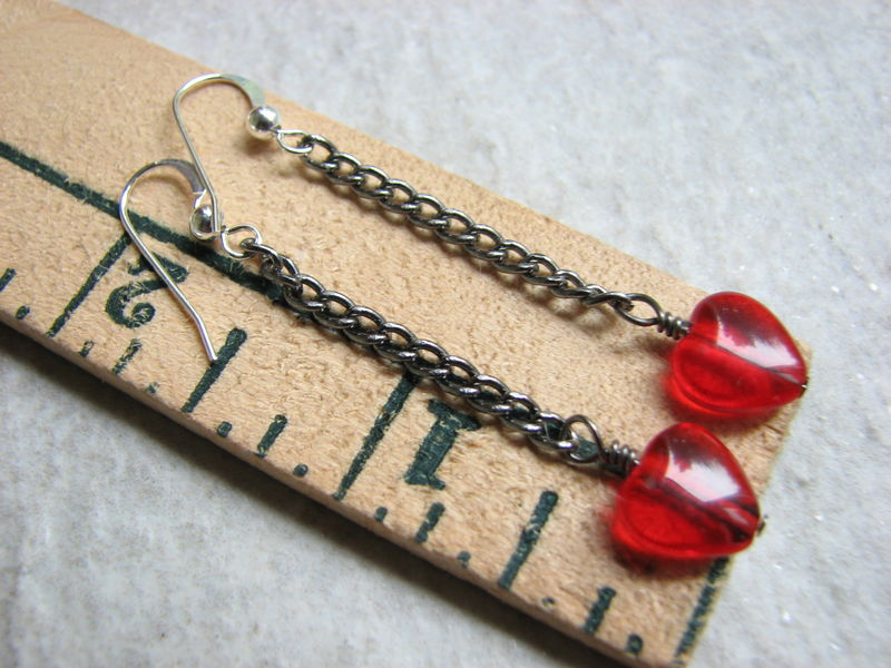 Gun Metal Valentine's Red Heart Chain Earrings - product images  of