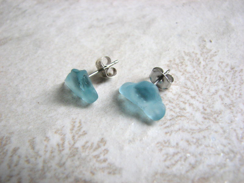 Small Aqua Blue Sea Glass Stud Earrings - product images  of