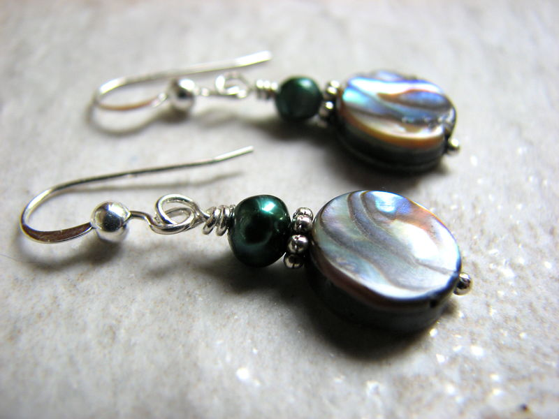 Abalone and Pearl Earrings, Green Paua Shell - product images  of