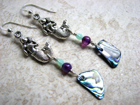 Mermaid,and,Abalone,Shell,Beaded,Earrings,,Nautical,Paua,Jewelry,mermaid earrings, siren, lorelei, silver, sterling silver, abalone earrings, paua shell earrings, long beach earrings, iridescent, sea shell earrings, purple bead earrings, seafoam green earrrings, nautical jewelry, paua jewelry, abalone jewelry, mermaid