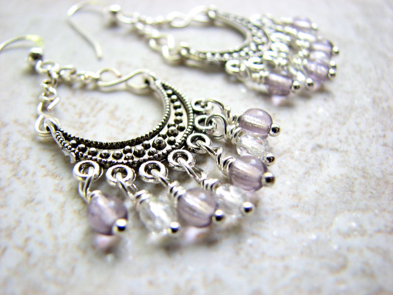Pale Lavender Crystal Chandelier Earrings - product images  of