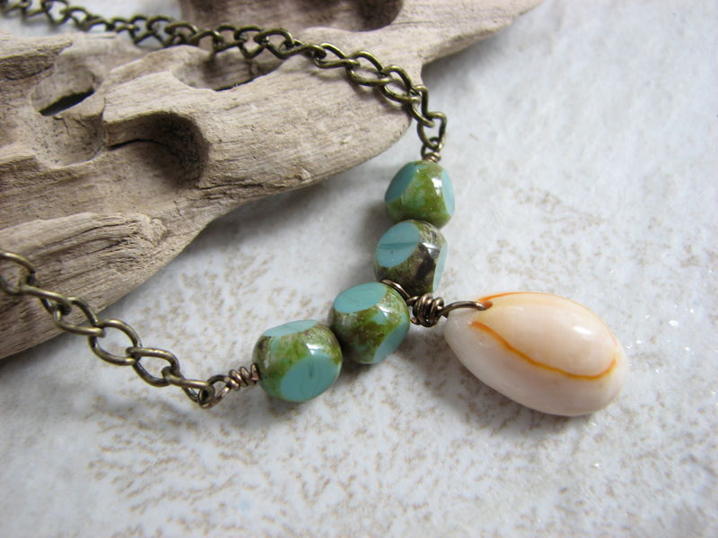 Cowrie Shell Necklace, Blue Beaded Boho Jewelry - product images  of