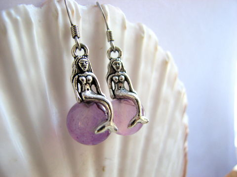 Mermaid,Earrings,,Silver,and,Purple,Quartz,Jewelry,mermaid jewelry, mermaid earrings, sitting mermaid charm, mermaid dangles, beaded mermaids, purple quartz earrings, purple nautical jewelry, purple mermaid earrings, summer jewelry, beach earrings, silver mermaid earrings, french hook earwires
