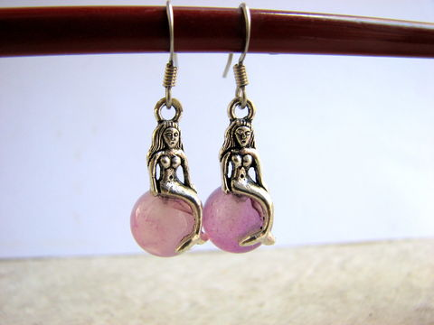 Mermaid,Earrings,,Silver,and,Purple,Nautical,Jewelry,mermaid jewelry, mermaid earrings, sitting mermaid charm, mermaid dangles, beaded mermaids, purple nautical jewelry, purple mermaid earrings, summer earrings, beach earrings, silver mermaid earrings, french hook earwires