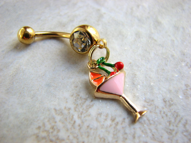 Gold Titanium Tropical Cocktail Belly Button Jewelry - product images  of