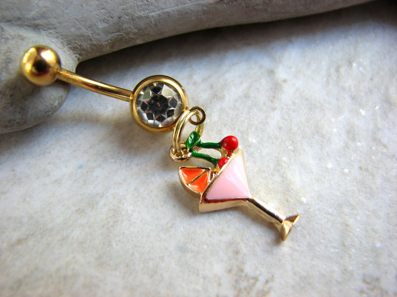 Gold Tropical Cocktail Belly Button Jewelry - product images  of