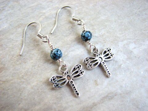 Blue,and,Black,Beaded,Dragonfly,Earrings,,dragonfly blue and black beaded sterling silver french hook earrings, summer jewelry, whimsical earrings, dragonfly jewelry, insect jewelry, butterfly jewelry, bead flying insect earrings, small dangle drop hanging delicate dragon fly charm