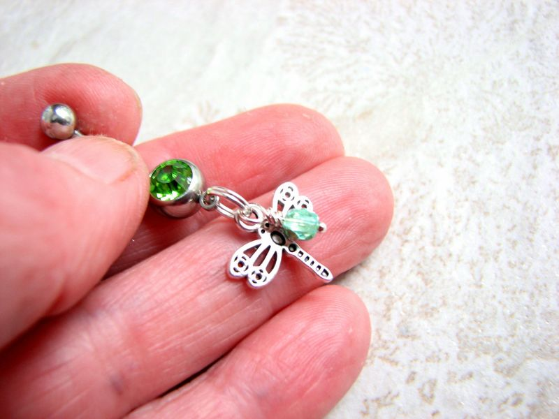 Beaded Silver Dragonfly Belly Button Ring - product images  of