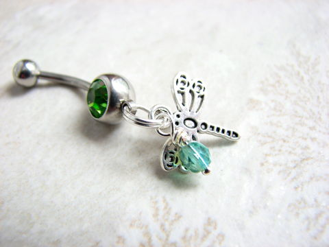 Beaded,Silver,Dragonfly,Belly,Button,Ring,dragonflies belly, dragonfly piercing jewelry, flying insect jewelry, blue-green, belly button jewelry, dragonfly navel ring, stainless steel belly bar 14 Gauge green CZ crystal accent, small dangle belly ring