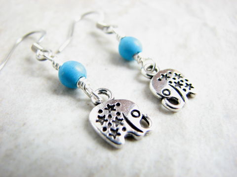 Tiny,Silver,Elephant,Drop,Earrings,with,Turquoise,Beads,elephant earrings, tiny elephant drop earrings, african animal dangle jewelry turquoise bead earrings, turquoise howlite, lucky earrings, lucky elephants