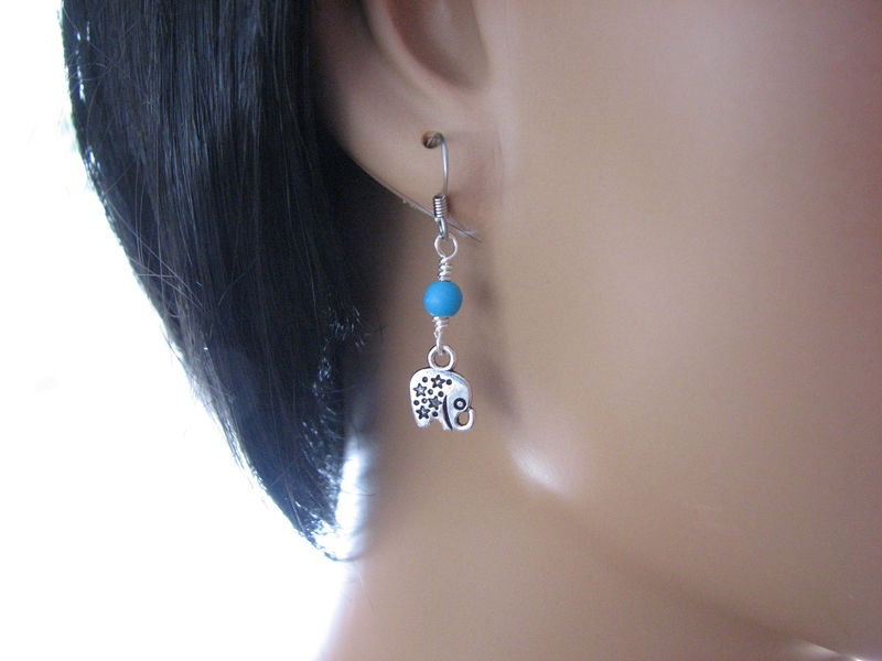 Tiny Silver Elephant Drop Earrings with Turquoise Beads - product images  of