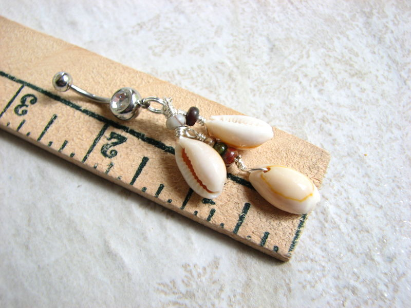 Jasper and Cowrie Sea Shell Belly Ring - product images  of