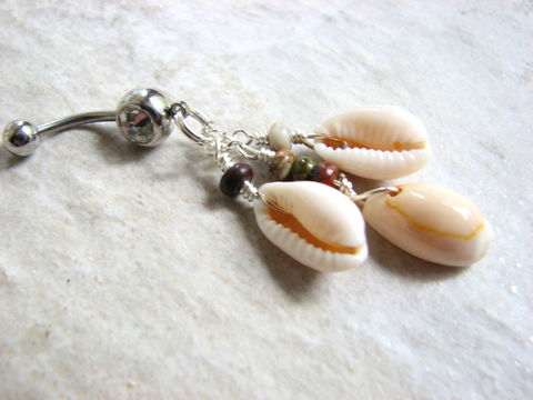 Jasper,and,Cowrie,Sea,Shell,Belly,Ring,jasper belly, cowry belly ring, cowrie sea shell jewelry, ocean body jewelry, shell belly piercing, shell cluster, multi color beads, beach body piercing, shell belly button rings, cowrie navel rings