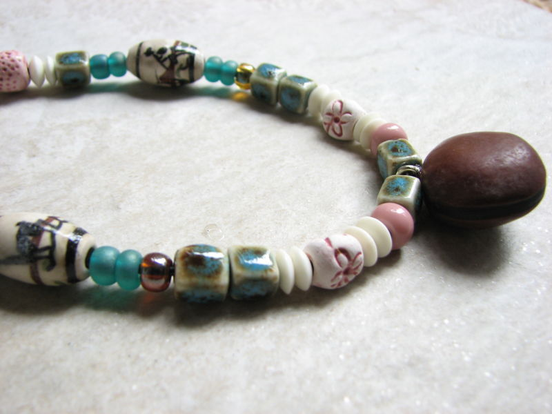 Womens Beaded Sea Bean Necklace  - product images  of