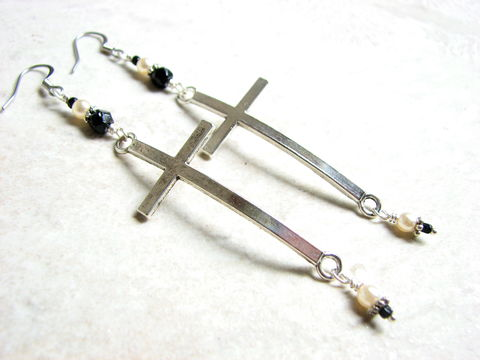 Large,Silver,Curved,Cross,Earrings,goth cross earrings, long cross earrings, curved cross earrings, goth jewelry, christian jewelry, crucifix earrings, large silver cross jewelry, religious jewelry, easter gifts,
