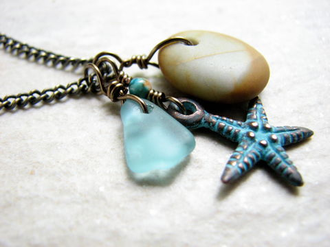 Rustic,Copper,Patina,Starfish,Necklace,with,Ocean,Stone,and,Beach,Glass,aqua blue beach glass charm necklace ocean stone sea rocks copper blue patina starfish sea star 18 inch antiqued brass chain jewelry rustic natural earthy sea glass charms