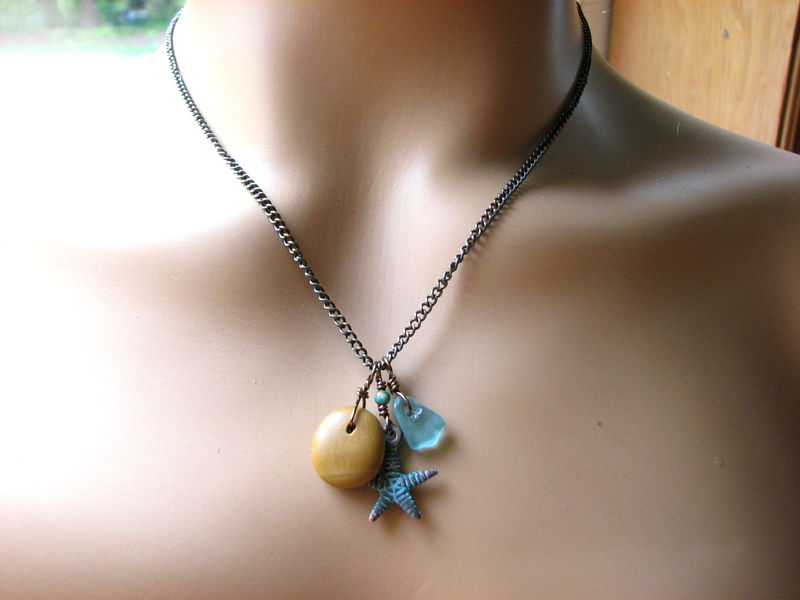 Rustic Copper Patina Starfish Necklace with Ocean Stone and Beach Glass - product images  of