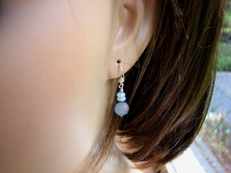 Grey Abalone Shell and Amazonite Dangle Earrings - product images  of