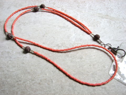 Lava,and,Coral,Bead,Lanyard,coral lanyard, lava lanyard, name tag necklace, cruise ship lanyard, peach badge holder, orange lanyard, hand made, bead ID holder, sail card holder, neck badge holder, beaded